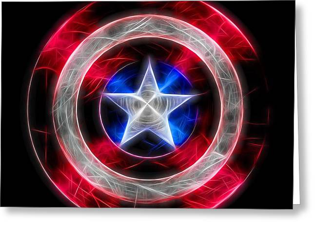 Neon Captain America Shield Greeting Card by Dan Sproul