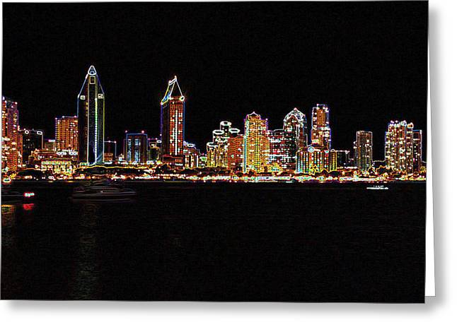 Reverse Art Greeting Cards - Neon city Greeting Card by Evelyn Patrick