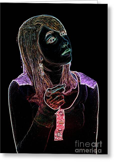 Neon Confrontation Greeting Card by Betty LaRue