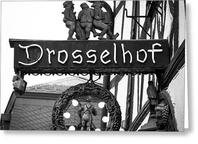 Neon Drosselhof Sign B W Greeting Card by Teresa Mucha