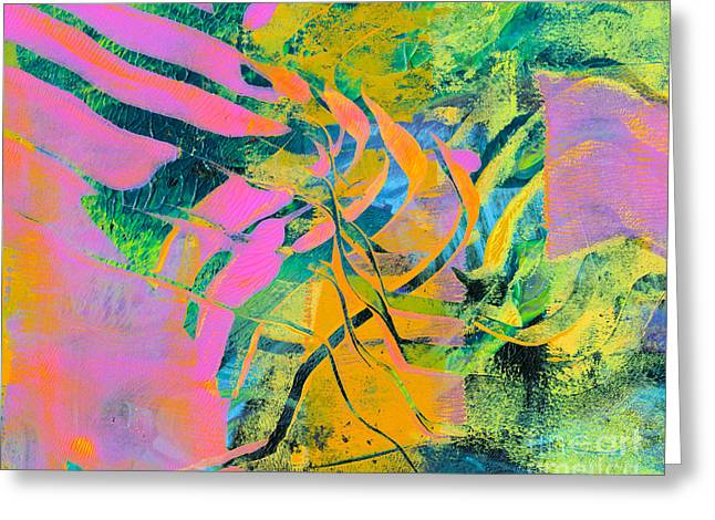 Printmaking Greeting Cards - Neon Flame Greeting Card by Laura L Leatherwood
