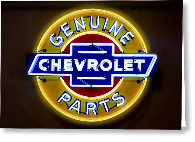 Neon Greeting Cards - Neon Genuine Chevrolet Parts Sign Greeting Card by Mike McGlothlen