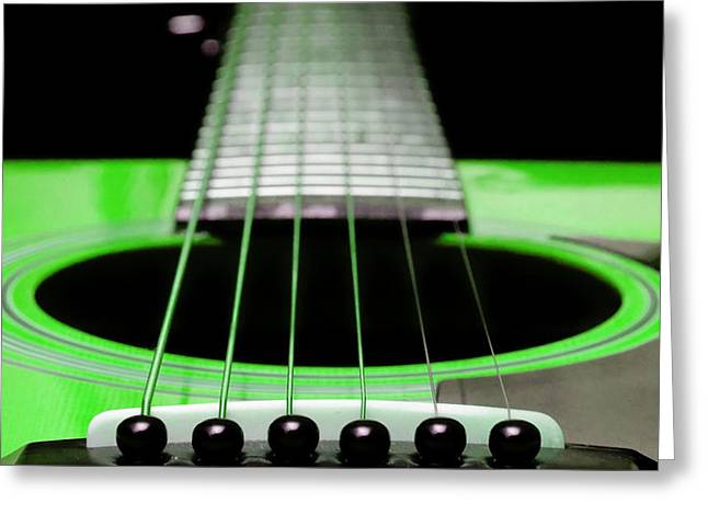 Neon Green Guitar 18 Greeting Card by Andee Design