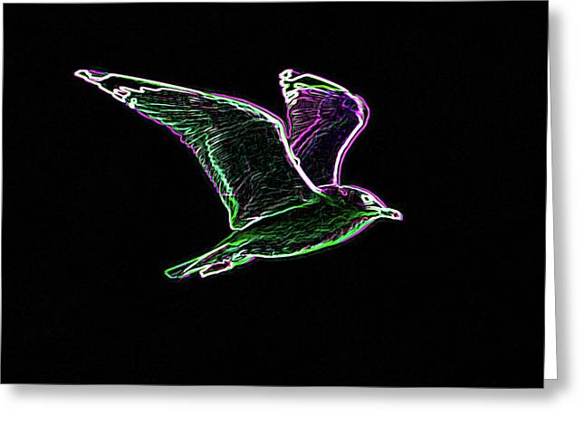 Flying Seagull Digital Art Greeting Cards - Neon Gull Greeting Card by Betty LaRue