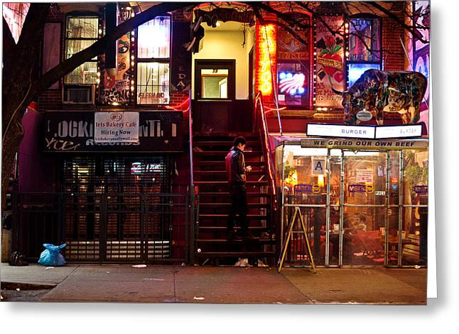 Neon Lights - New York City at Night Greeting Card by Vivienne Gucwa