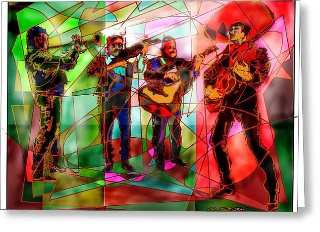 Musica Greeting Cards - Neon Mariachi Greeting Card by Dean Gleisberg