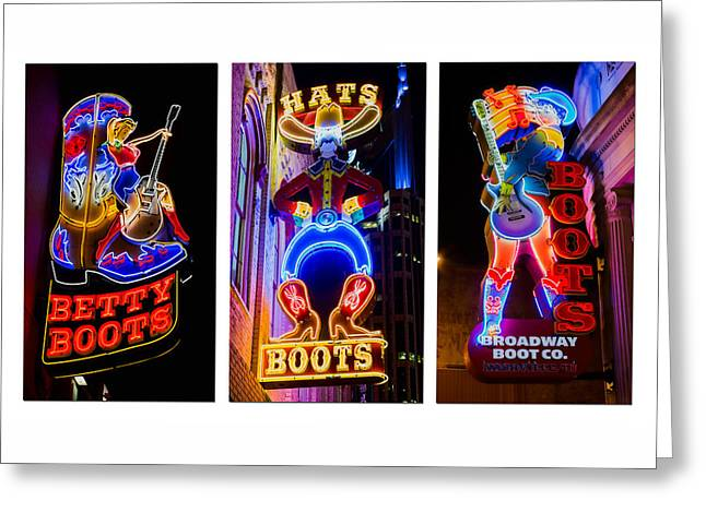 Nashville Poster Greeting Cards - Neon Nashville Greeting Card by Stephen Stookey