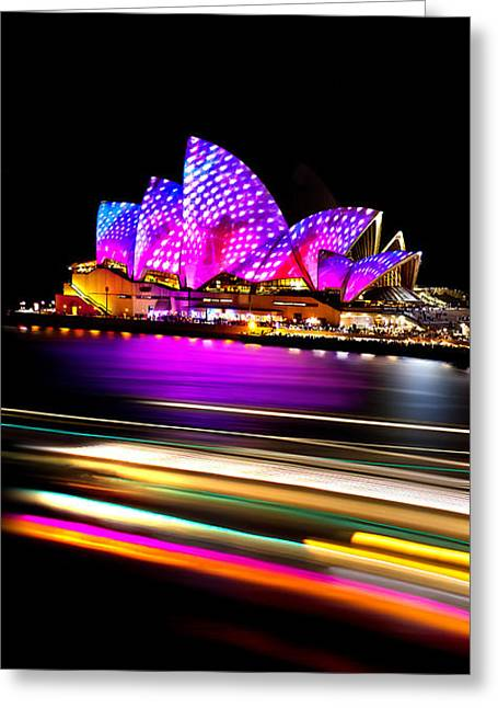 Famous Photographers Photographs Photographs Greeting Cards - Neon Nights Panorama Greeting Card by Az Jackson