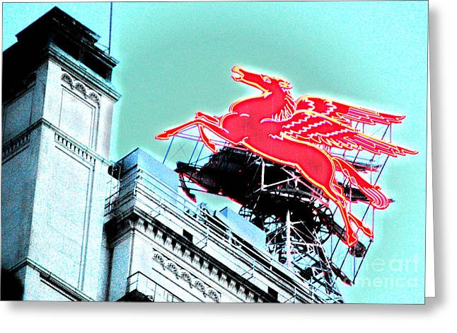 Neon Pegasus Atop Magnolia Building In Dallas Texas Greeting Card by Shawn O'Brien