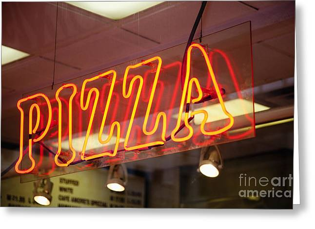 Italian Restaurant Greeting Cards - Neon Pizza Sign on Window at Night Greeting Card by Inti St. Clair