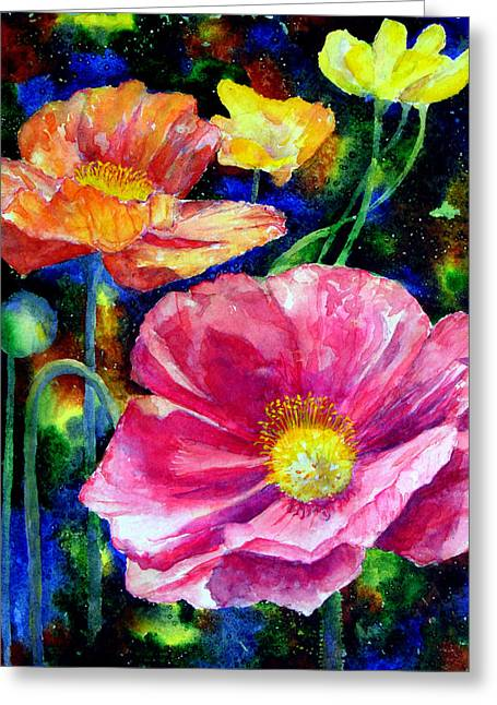 Oversize Greeting Cards - Neon poppies Greeting Card by Mary Giacomini