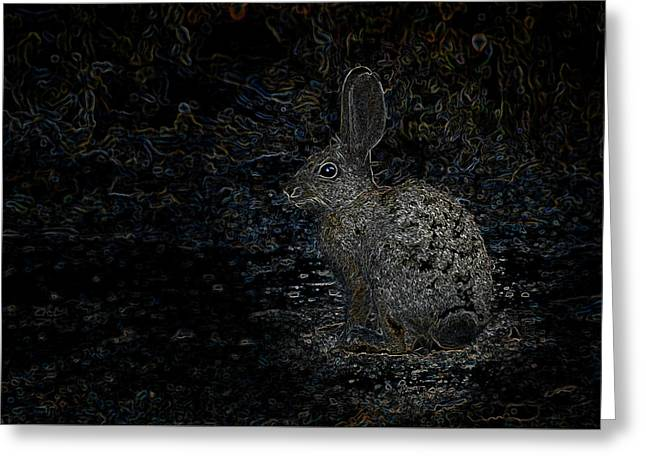 Book Cover Art Greeting Cards - Neon Rabbit Greeting Card by Mark Myhaver
