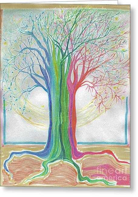 Neon Rainbow Tree By Jrr Greeting Card by First Star Art