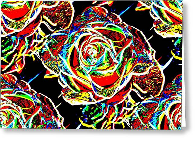 Tim Allen Greeting Cards - Neon Rose Greeting Card by Tim Allen