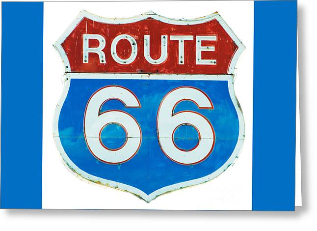 Roadway Greeting Cards - Neon Route 66 Sign Greeting Card by MaryJane Armstrong