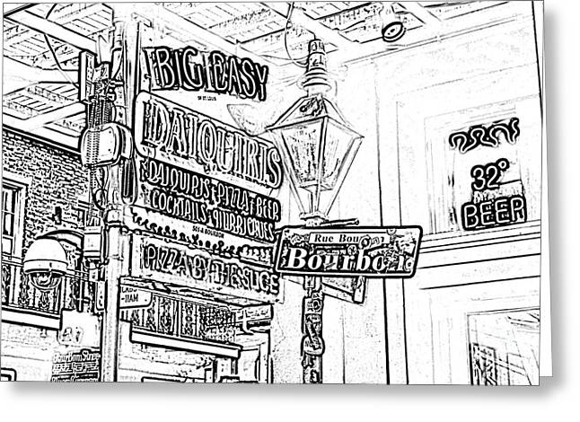 Photocopy Greeting Cards - Neon Sign on Bourbon Street Corner French Quarter New Orleans Black and White Photocopy Digital Art Greeting Card by Shawn O