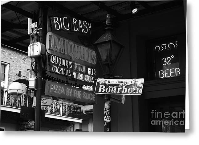 Travelpixpro Greeting Cards - Neon Sign on Bourbon Street Corner French Quarter New Orleans Black and White Greeting Card by Shawn O