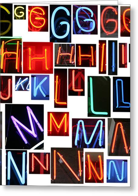 Letter J Greeting Cards - neon sign series G through N Greeting Card by Michael Ledray