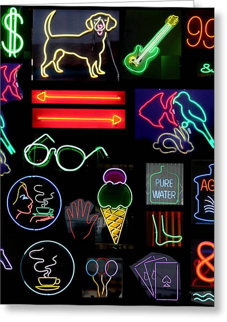 Letter J Greeting Cards - Neon Sign Series With Symbols Of Various Shapes And Colors Greeting Card by Michael Ledray