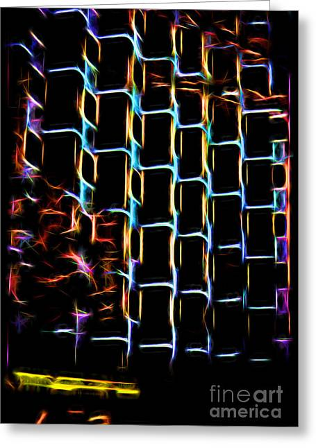 Shades Of Red Greeting Cards - Neon Tower7 Greeting Card by Neon Flash