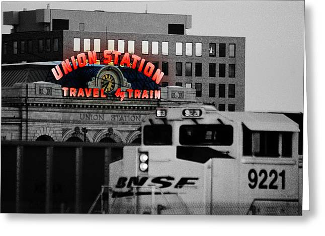 Tractor Tire Greeting Cards - Neon Union Station Greeting Card by Kevin Munro