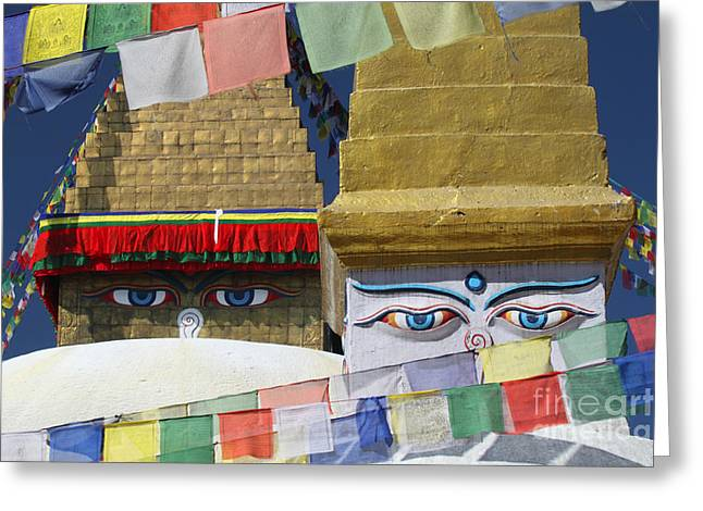Tibetan Buddhism Greeting Cards - Nepal Buddhist Temple Greeting Card by Jim Beckwith