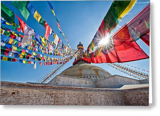 Tibetan Buddhism Greeting Cards - Nepals Heritage Greeting Card by Ulrich Schade