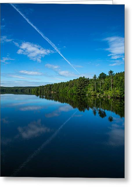 Blue And Green Greeting Cards - Nepaug Reservoir Greeting Card by Karol  Livote