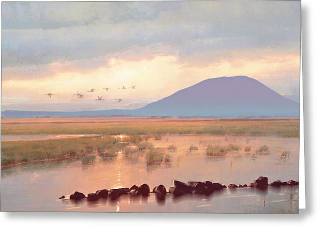 Lough Greeting Cards - Nephin Dawn Greeting Card by Conor McGuire