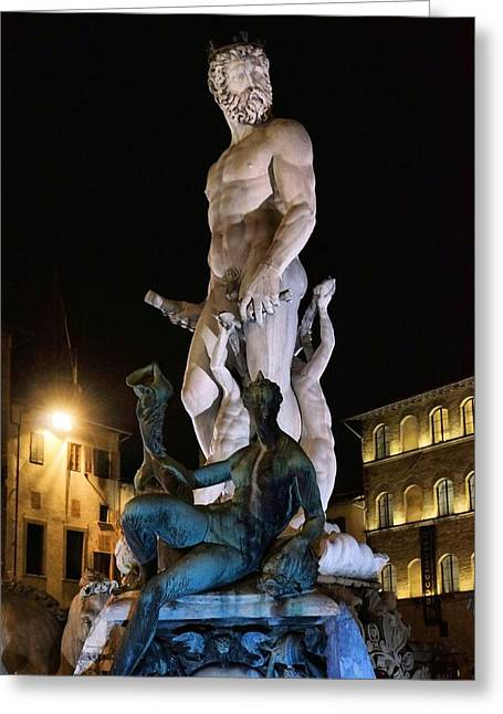 The Uffizi Greeting Cards - Neptune at Night Greeting Card by Patricia Strand