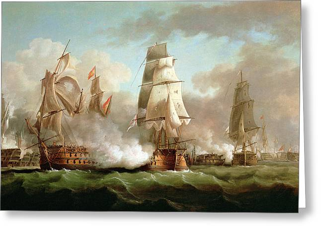 Water Vessels Greeting Cards - Neptune engaged at The Battle of Trafalgar Greeting Card by J Francis Sartorius
