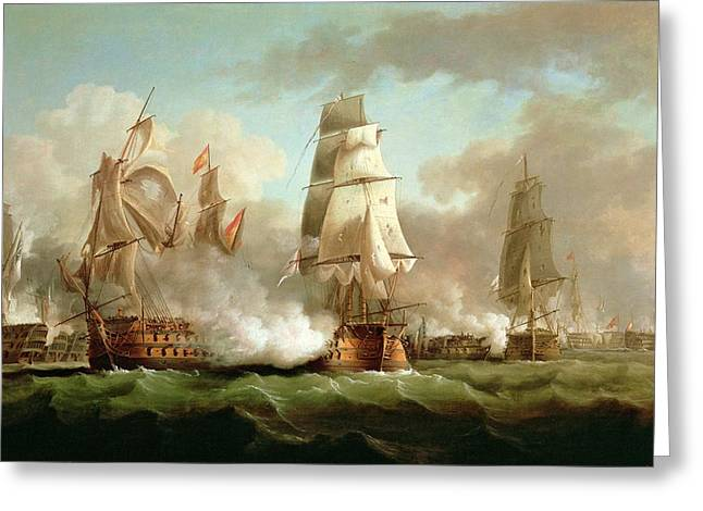 Battle Ship Greeting Cards - Neptune engaging Trafalgar Greeting Card by J Francis Sartorius