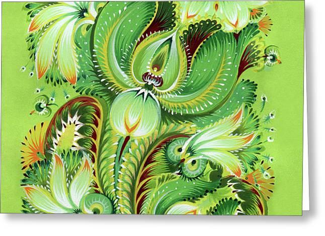 Neptunes Flowers Greeting Card by Olena Kulyk