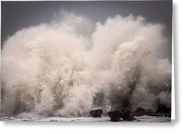 Winter Storm Greeting Cards - Neptunes Fury Greeting Card by Dan Cristian Mihailescu
