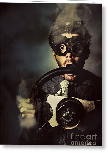 Nerd Business Man In A Fast Race Competition Greeting Card by Jorgo Photography - Wall Art Gallery