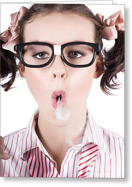 Striped Blouse Greeting Cards - Nerd girl blowing smoke rings from cigarette Greeting Card by Ryan Jorgensen