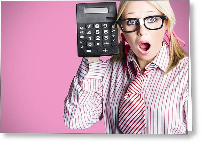 Nerdy Accounting Clerk Showing Tax Return Savings Greeting Card by Jorgo Photography - Wall Art Gallery