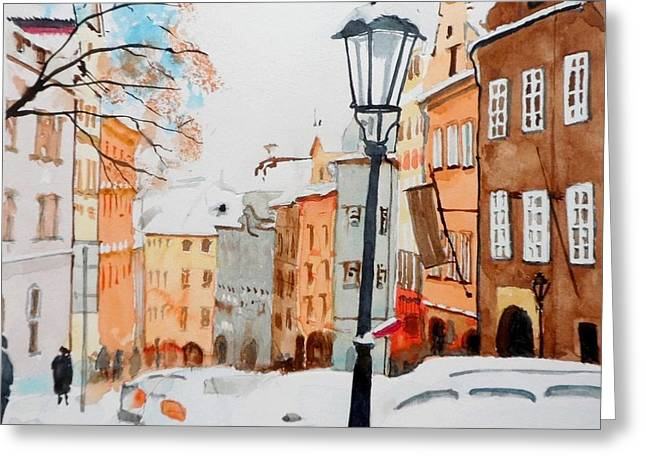 Prague Paintings Greeting Cards - Nerudova street / Prague Greeting Card by Achilles Kalogiros