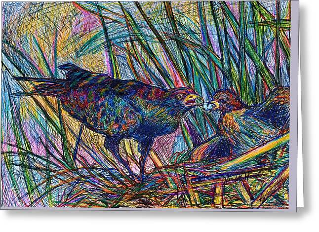 Blue And Green Greeting Cards - Nesting Greeting Card by Kendall Kessler