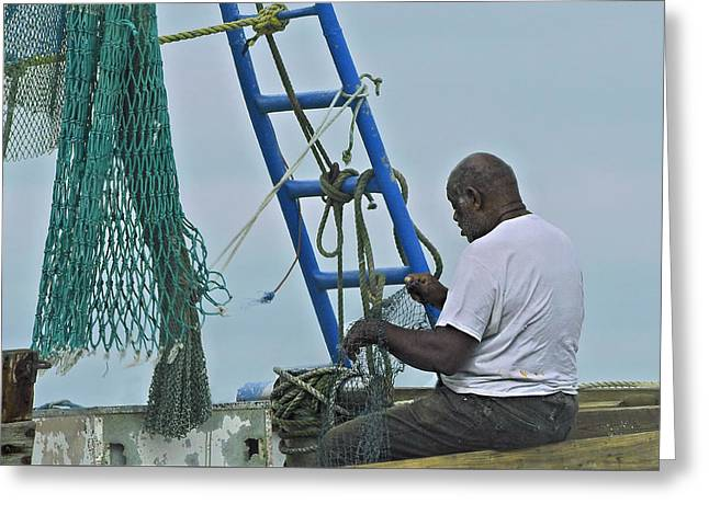 Shrimp Boat Captains Greeting Cards - Net Mending Greeting Card by Laura Ragland