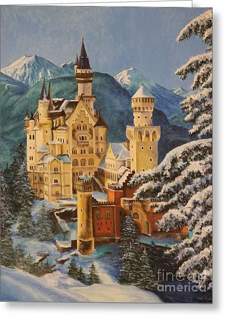 Neuschwanstein Castle In Winter Greeting Card by Charlotte Blanchard