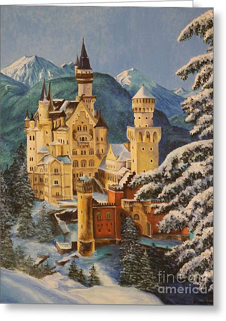 Recently Sold -  - Lions Greeting Cards - Neuschwanstein Castle in Winter Greeting Card by Charlotte Blanchard