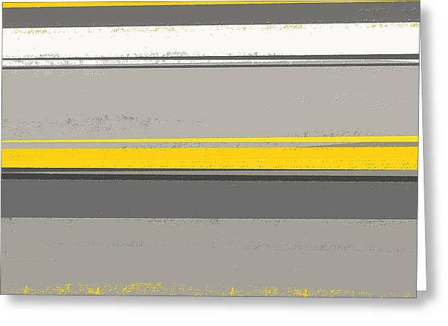 Yellow And Gray Abstract Greeting Cards - Neutral Harmony Greeting Card by Lourry Legarde