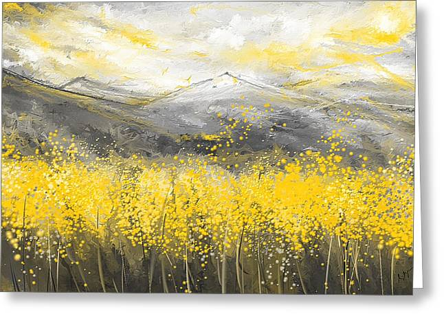 Yellow And Gray Abstract Greeting Cards - Neutral Sun - Yellow And Gray Art Greeting Card by Lourry Legarde