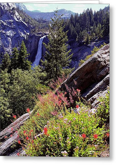 Nevada Falls Yosemite National Park Greeting Card by Alan Lenk