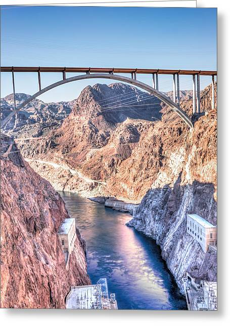 Power Plants Greeting Cards - Hoover Dam Sunset Greeting Card by Carol  Lux Photography