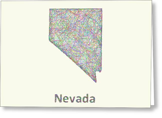 Las Vegas Drawings Greeting Cards - Nevada line art map Greeting Card by David Zydd