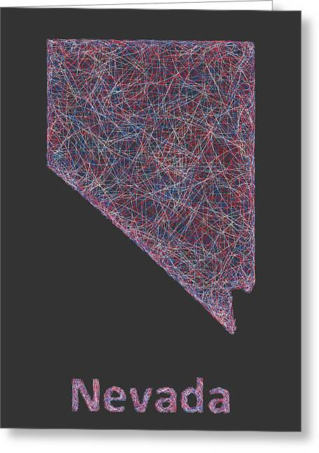 Las Vegas Drawings Greeting Cards - Nevada map Greeting Card by David Zydd