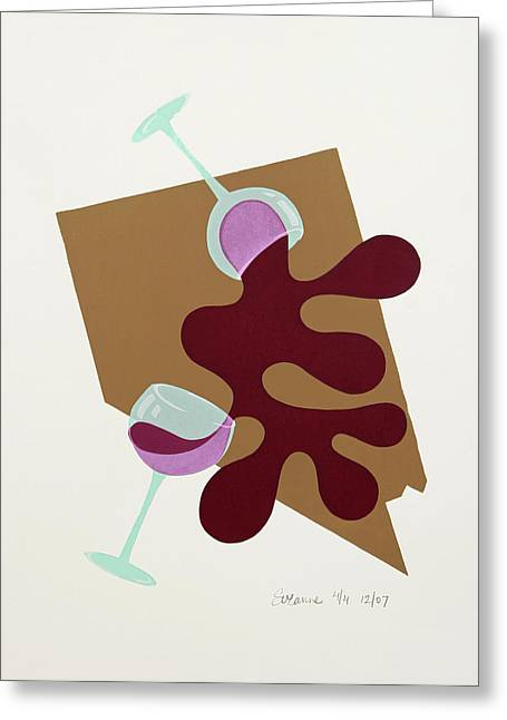 Long Stem Wine Glass Greeting Cards - Nevada Placemat Greeting Card by Suzanne Blender