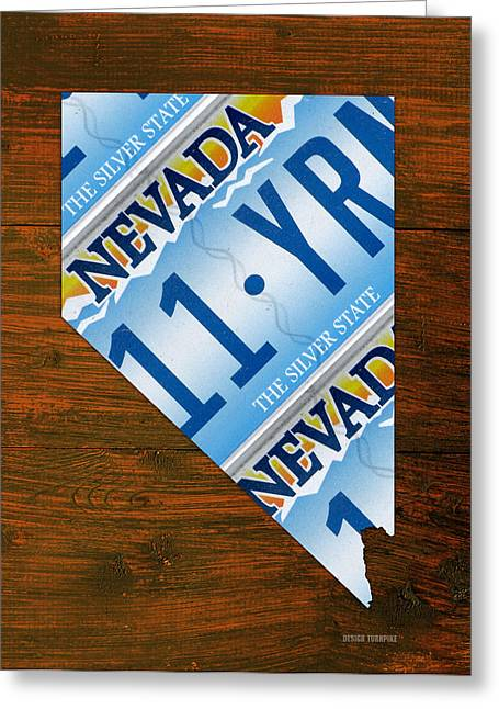 Las Vegas Art Greeting Cards - Nevada The Silver State Recycled License Plate Map Art Greeting Card by Design Turnpike